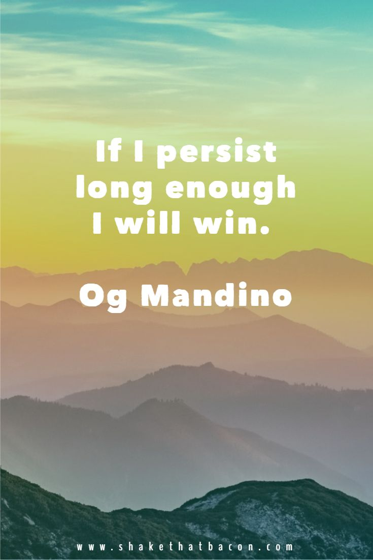 If I persist long enough I will win. Og Mandino