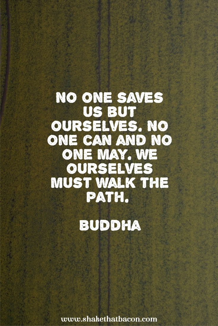 No one saves us but ourselves. No one can and no one may. We ourselves must walk the path. Buddha